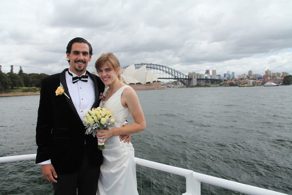 Marriage Registry style wedding on a Water Taxi on Sydney Harbour