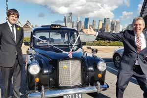 Marriage registry office in a London Cab on Sydney Harbour Bridge